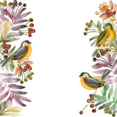 watercolor bird, flowers and plants. watercolor floral natural background. watercolor painting. bird, rose, leaves and berries background.