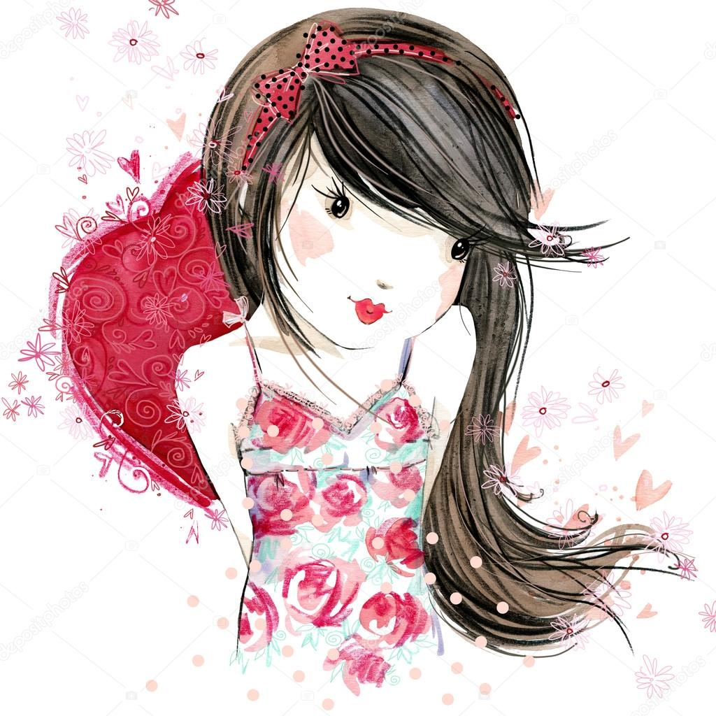Cute Girl With Red Heart Valentine Day Watercolor Illustration