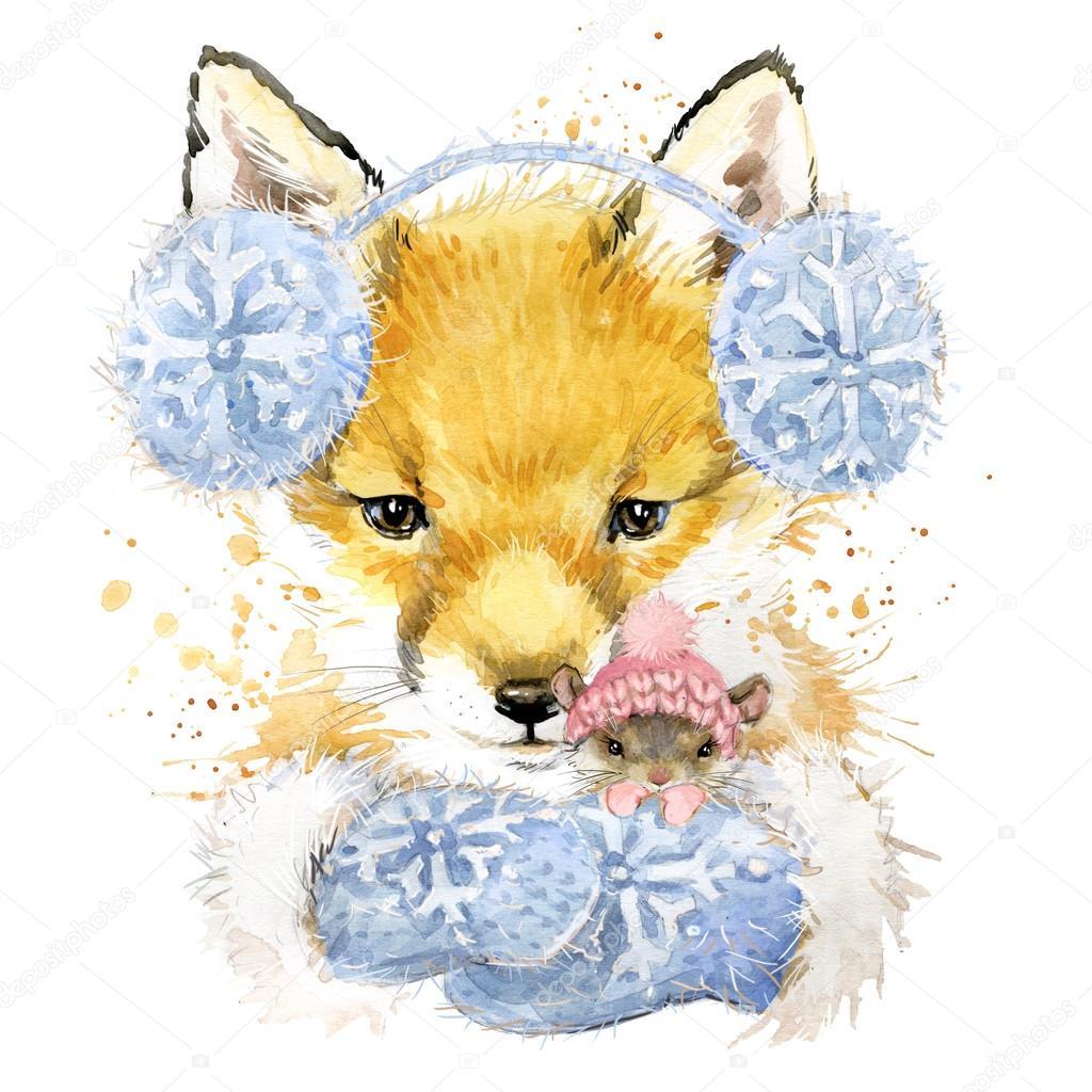 Fox lindo ilustración gráfica, el zorro y el ratón camiseta con ...