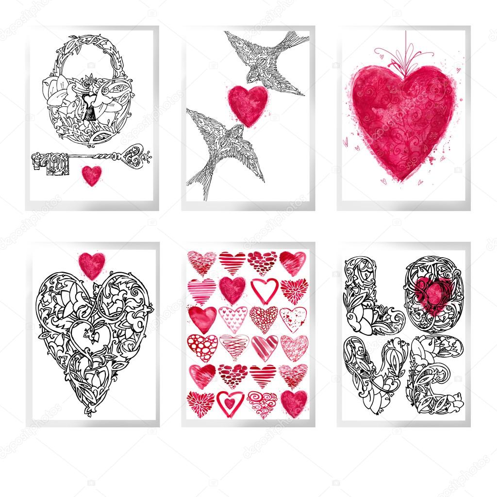Valentines day set for holiday greeting cards valentine heart set valentines day set for holiday greeting cards valentine heart set valentines heart background m4hsunfo