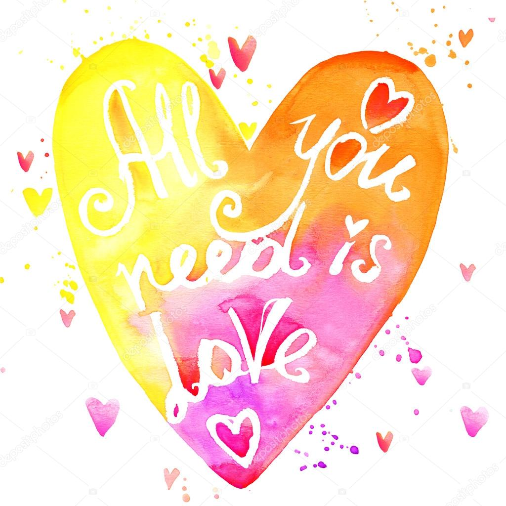all you need is love watercolor rainbow lettering background