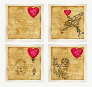 Valentines day card set. Vintage old paper, lace drawing graphics, love lettering  text, valentine day symbol. Watercolor texture old paper. Valentine day retro stile background. Watercolor drawing