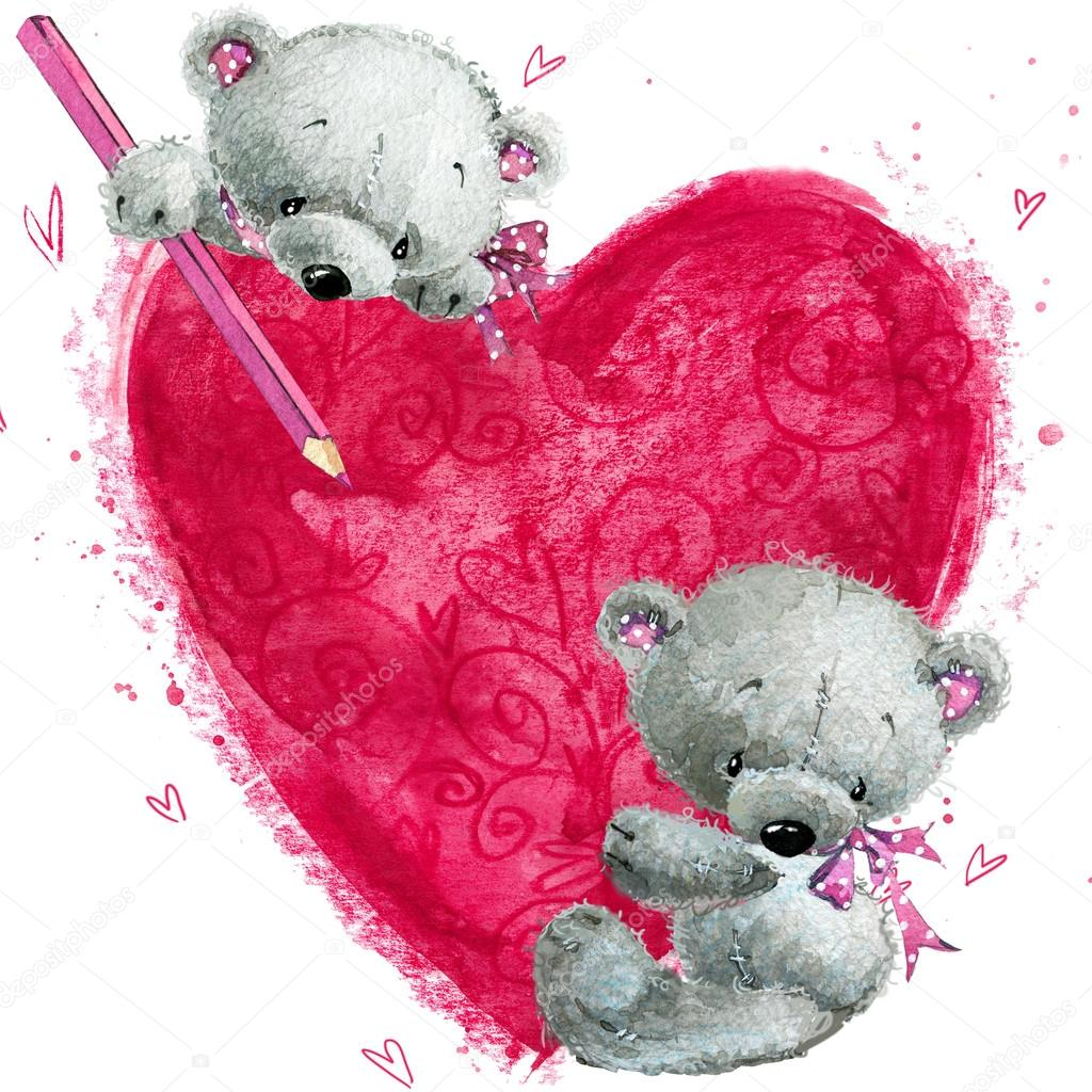 Teddy Bear With The Big Red Heart Valentines Greeting Card Love
