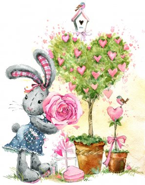 Cute bunny rabbit. Valentines day card. Valentines love Tree. Watercolor bunny rabbit illustration. love tree. Valentine heart. Greeting card for Valentine day. Love you.