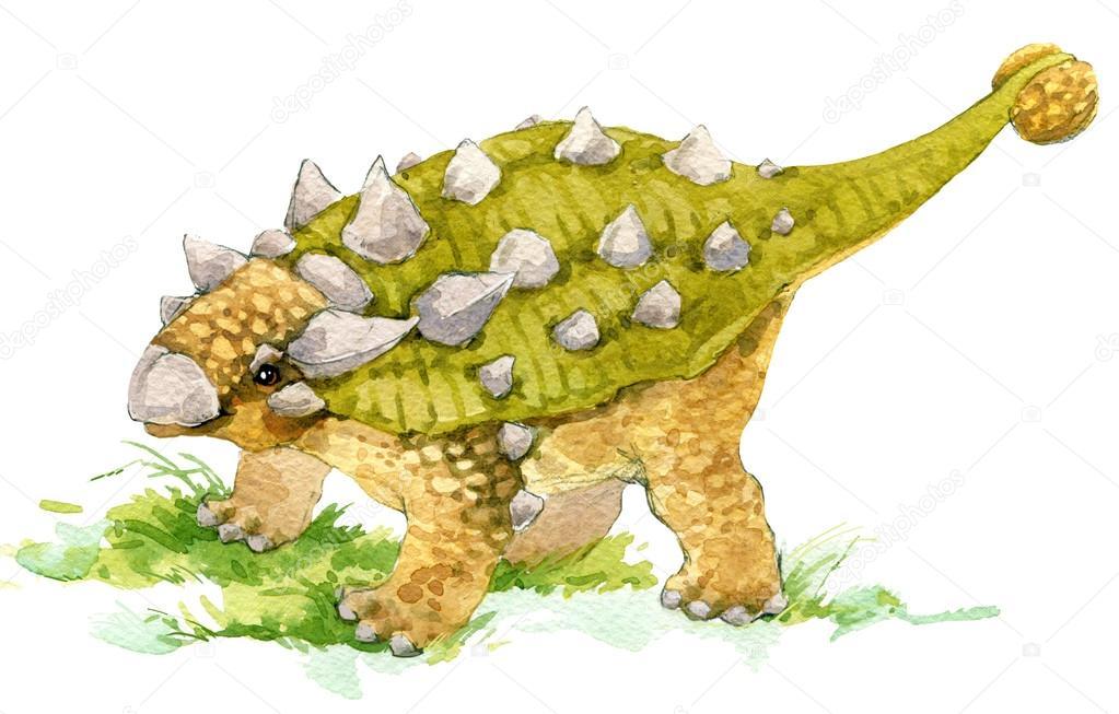 Dinossauro. Desenho Aquarela Do Dinossauro. Ilustração De