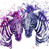 Fotografia Illustrazione dellacquerello della zebra. Zebra sveglia. scheda di amore. Cuore di San Valentino. Manifesto di San Valentino