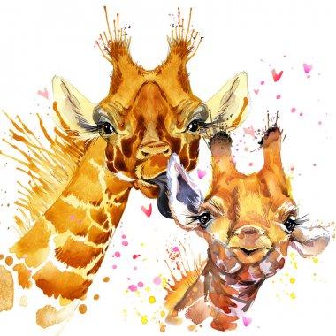 Watercolor Giraffe illustration. Cute giraffe. Giraffe family. Love card. Valentine poster