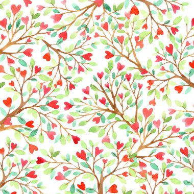 Love tree watercolor. Love background. Red heart. Wedding invitation design. Valentine day background. Watercolor floral background. Watercolor nature background.