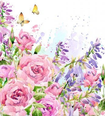 Watercolor garden flower. Watercolor rose illustration. Watercolor flower background. Nature background.