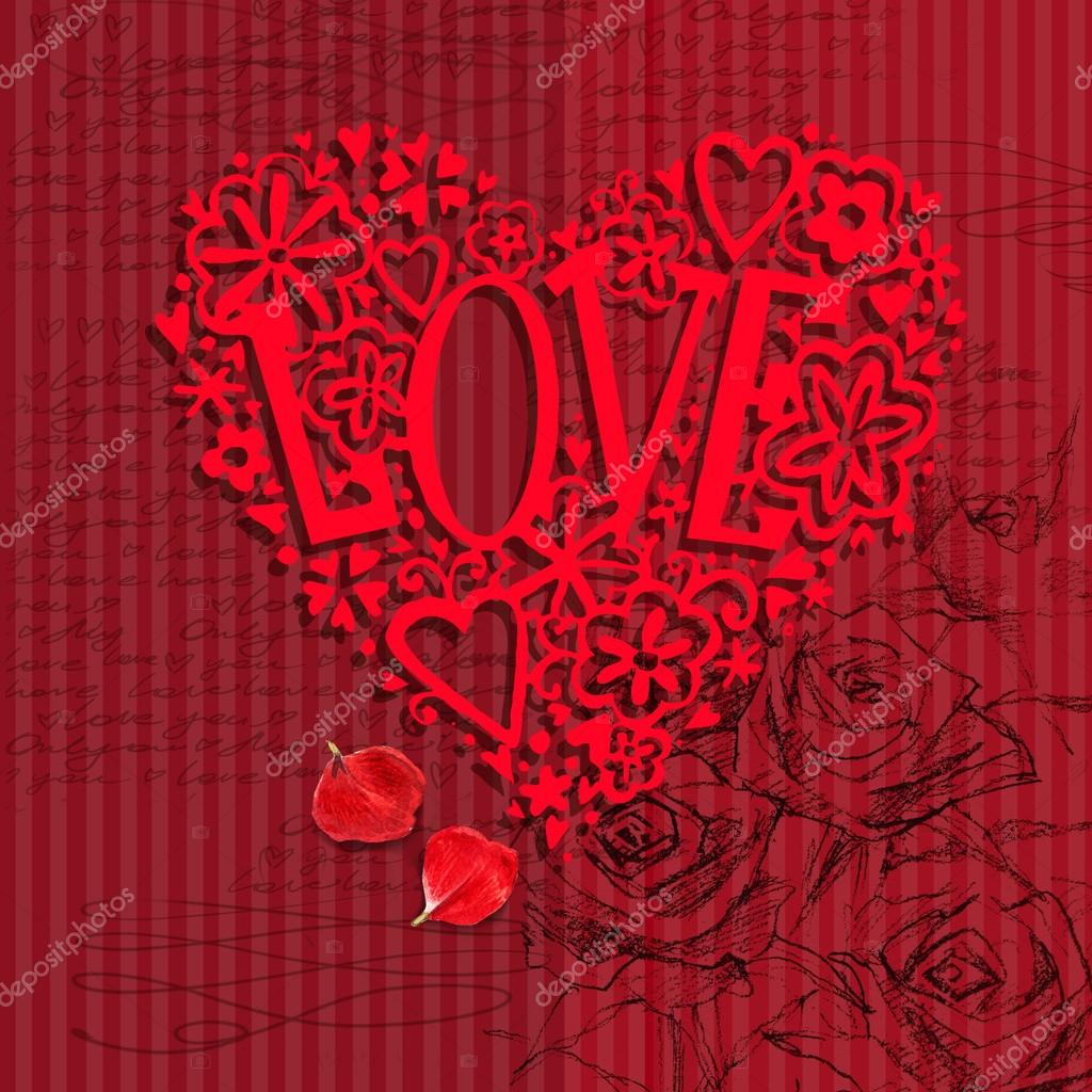 Valentines Day Card Love You Greeting Card Valentine Day Hand