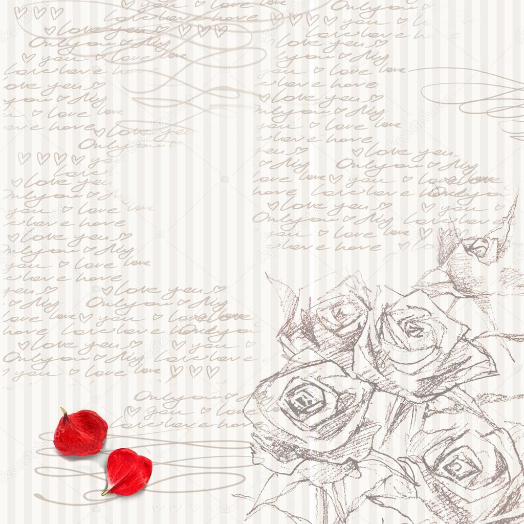 love letter wedding design valentine day background sketch floral background rose flower sketch photo by dobrynina_art