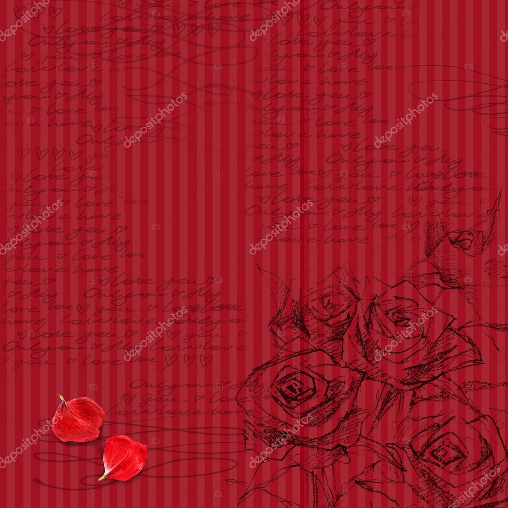 flower romantic background love letter wedding design valentine day background sketch floral background rose flower sketch photo by dobrynina_art