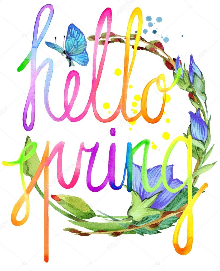 Hello Spring.  Watercolor spring flower and hand written text. Watercolor spring  illustration. Hello Spring text background. Hello Spring lettering background for greeting card, poster.