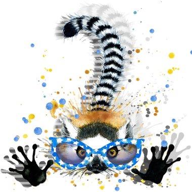 Lemur illustration. watercolor Lemur. Lemur T-shirt graphics design. illustration watercolor cute Lemur for fashion print, poster for textiles, fashion design. glitch effect. glitch background