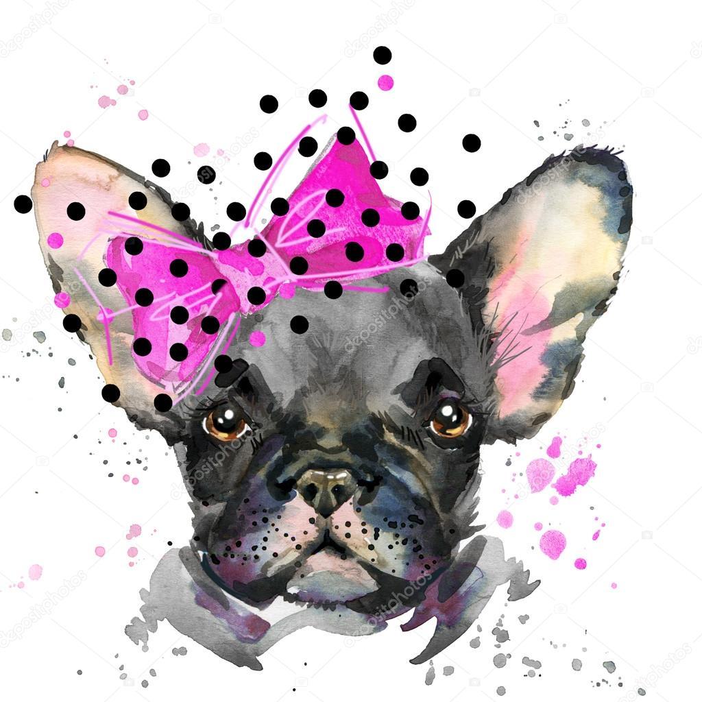French Bulldog Cute Puppy Dog Watercolor Puppy Dog Illustration