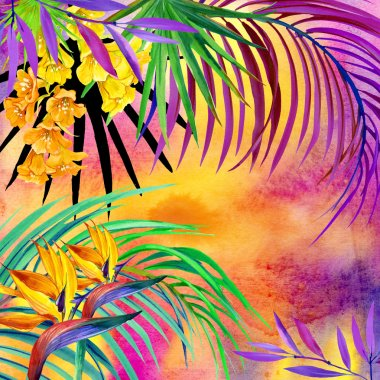 Watercolor tropical nature. Watercolor tropical background.  Tropical leaves, flowers and plant. Watercolor abstract background.  watercolor summer floral background