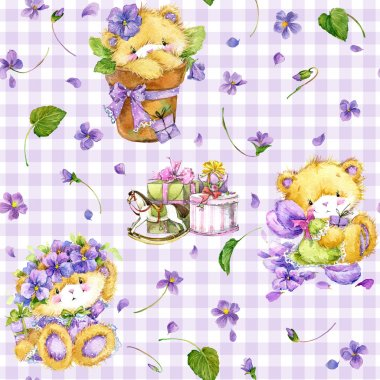 Cute Teddy bear. Watercolor teddy bear. Teddy bear pattern background. Teddy bear pattern background for textile, print, wrapping paper