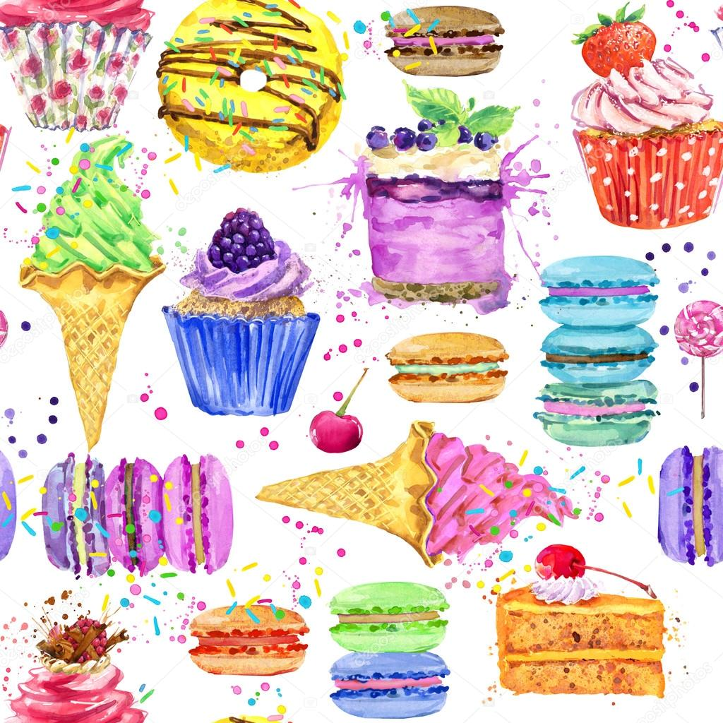 Sweet Ice Cream Flat Colorful Seamless Pattern Vector: Yummy Colorful Sweet Seamless Pattern. Watercolor Sweet