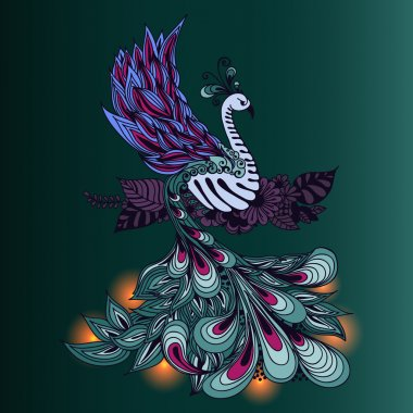 Bird Phoenix with lights on its tale.