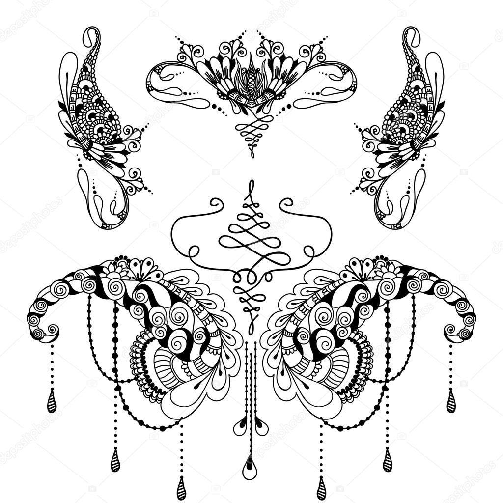 Plantillas Mariposas Tatoo Plantilla De Tatuaje De Flores Mehndy