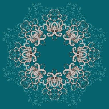 Circular Floral Ornament octopus