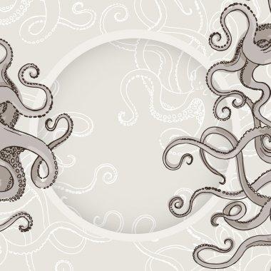 Octopus Kraken card or border with feelers