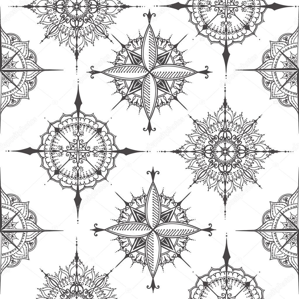 Wzór Z Kompasy Z Kwiatowymi Elementami Grafika Wektorowa