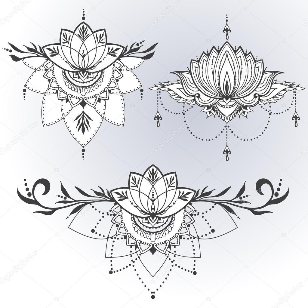 Plantilla Flor De Loto Mandala Loto Dibujado A Mano En Estilo