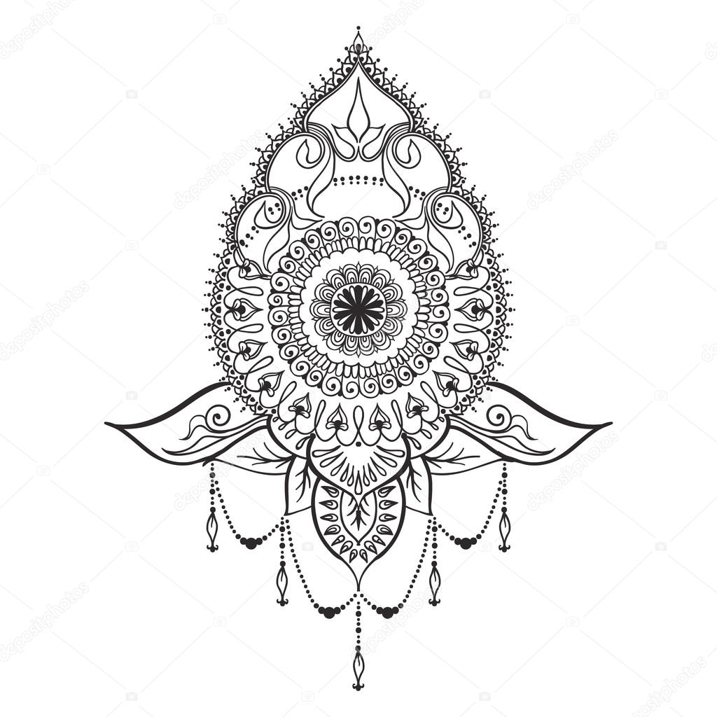 tattoo template in mehndi style ストックベクター xarlyxa 119166322