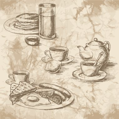 Freehand drawing of the breakfast on the old paper. Sausages, eggs, sunny side up, toast, crumpets, lemon, tea, juice and coffee with kettle. Vintage style of food design. stock vector