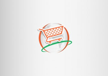 Paper shopping cart flying around the paper planet Earth stock vector