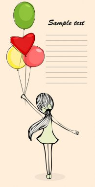 Illustration of girl with balloons