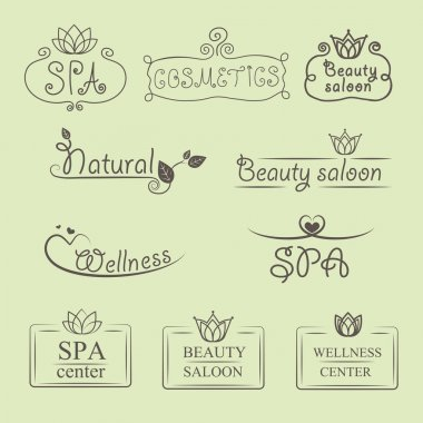 Handwritten beauty and nature vector logos