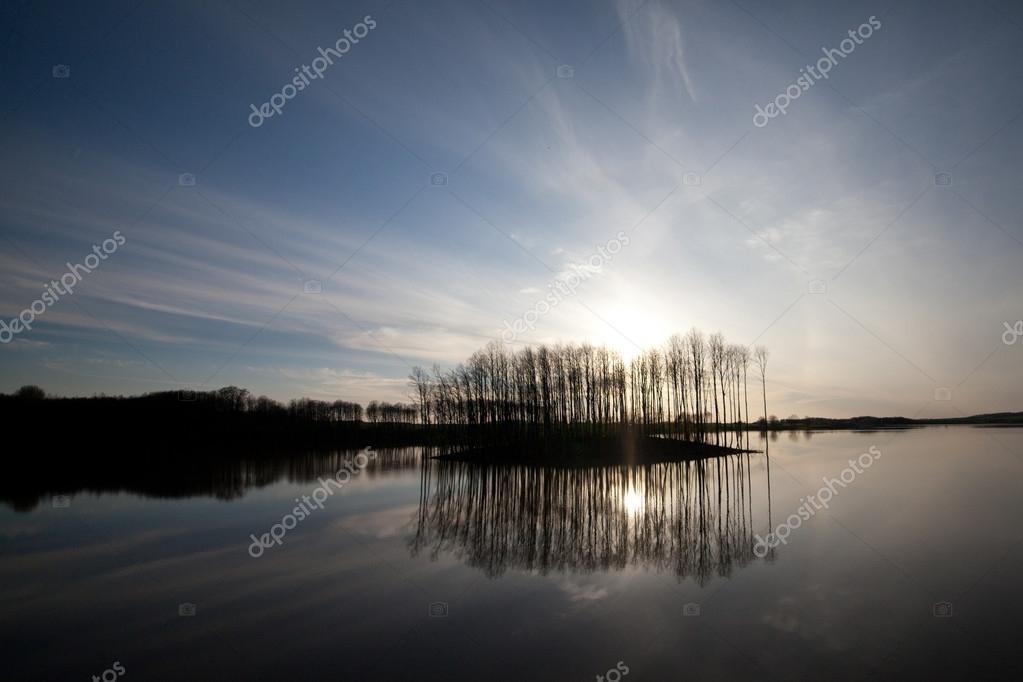 Summer landscape river and sky