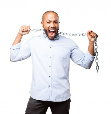 black young businessman with chain
