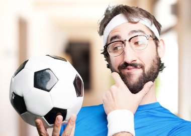 crazy sports man with ball