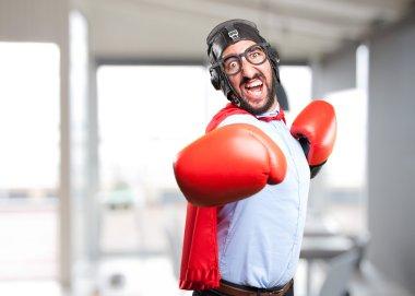 crazy hero man in boxing gloves