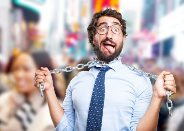 crazy businessman with iron chain
