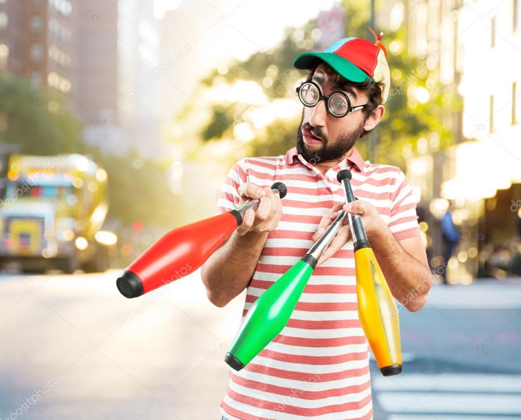 fool crazy man with pins stock photo kues 109698728