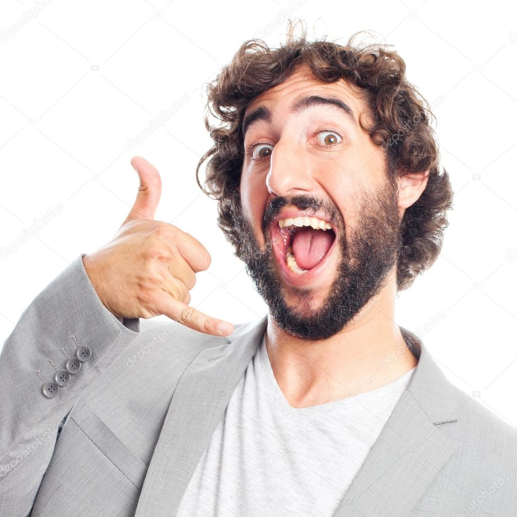 acheter en ligne 3084d 03f03 Young crazy man call gesture — Stock Photo © kues #62151461