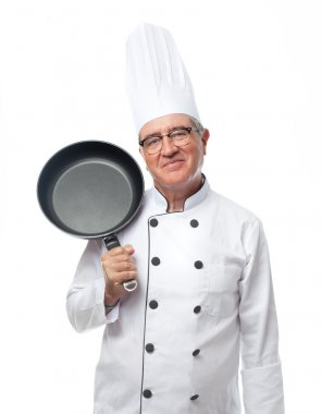 Senior cool man with a pan