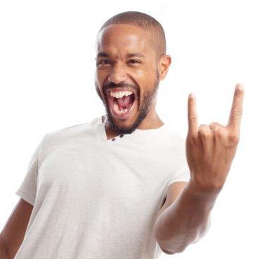 Young cool black man disagree sign