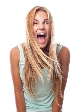 Young cool woman shouting