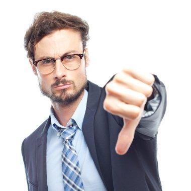 young crazy businessman disagreement gesture