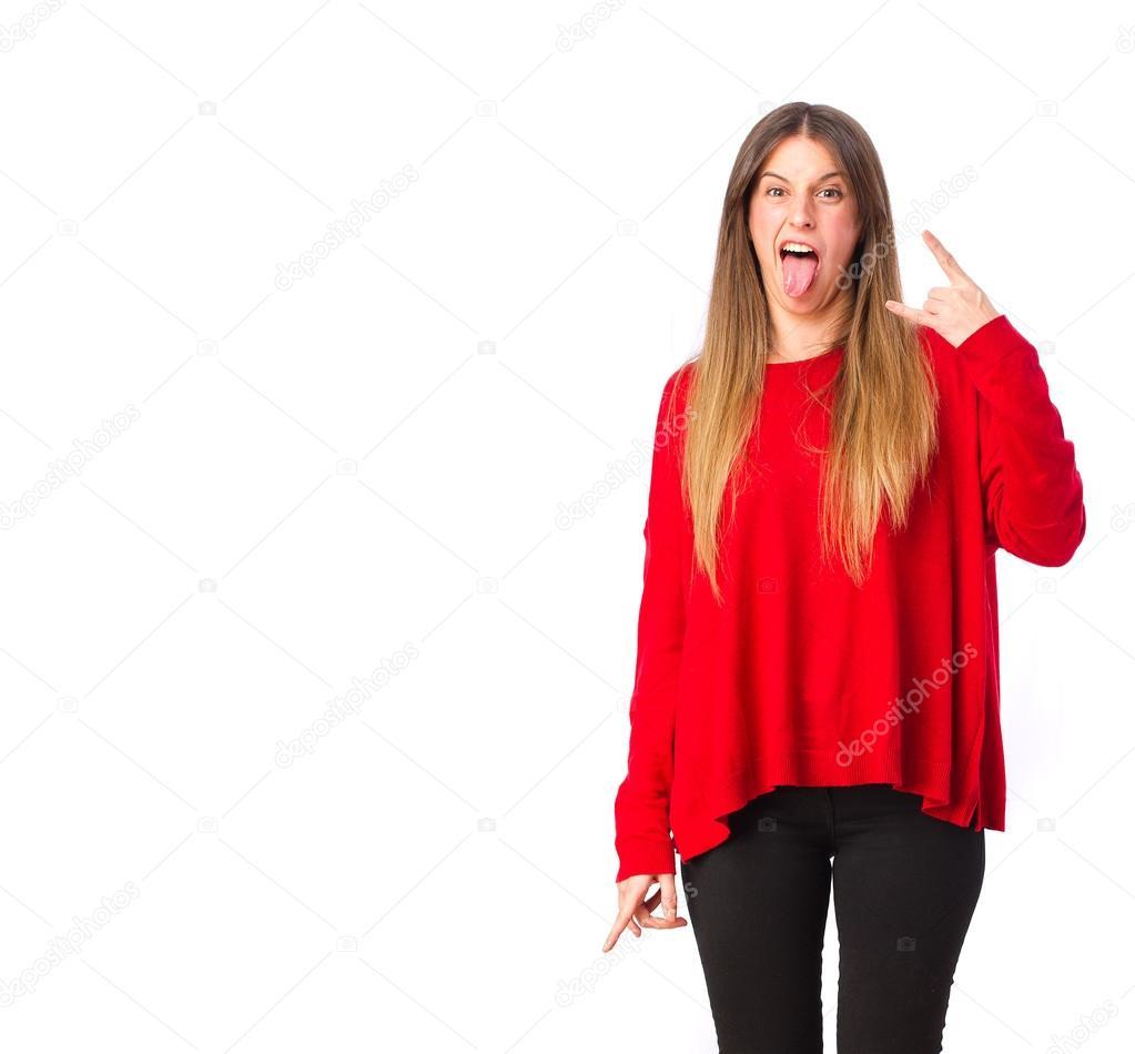 Coole Mädchen Nicht Einverstanden Sind Zeichen Stockfoto Kues