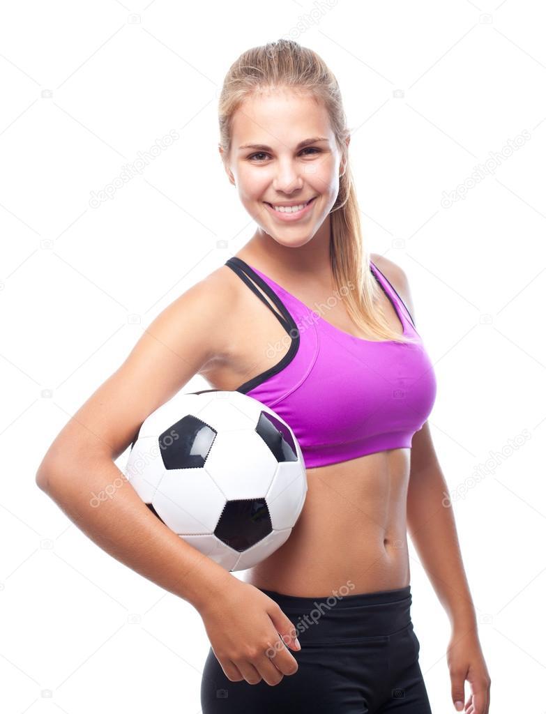 Mujer joven fresca con pelota de Futbol — Foto de Stock f548b5b7de617