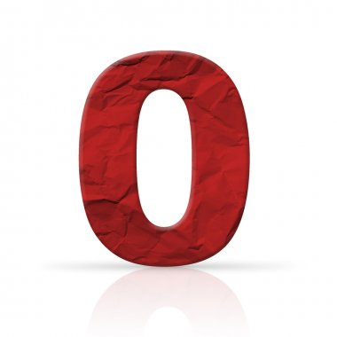 Zero red wrinkled paper number texture