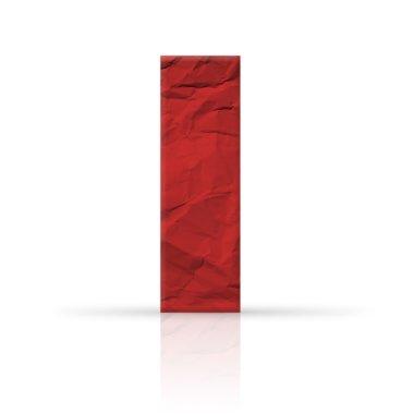 i letter wrinkled red paper