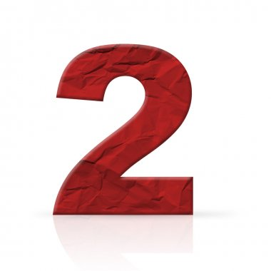 Two red wrinkled paper number texture