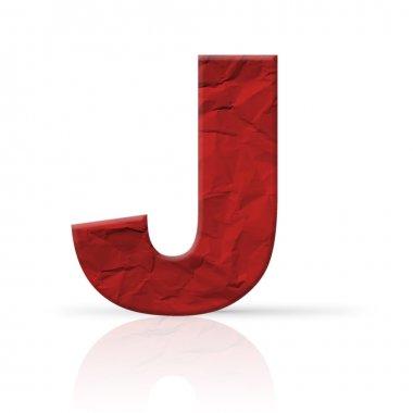 j letter wrinkled red paper